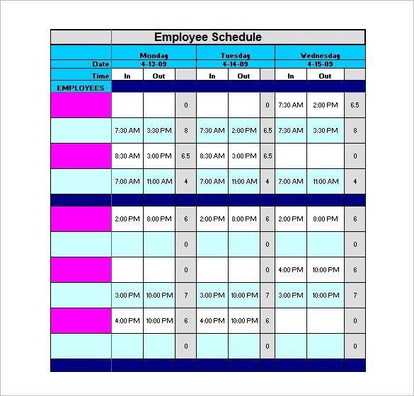 Staff Schedule Template – 8+ Free Word, Excel, PDF Format Download ...