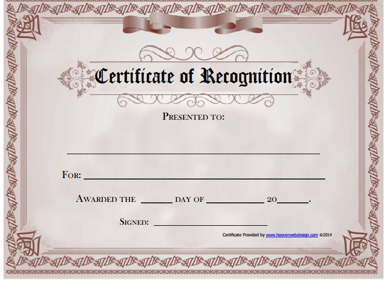 6 Certificate of Recognition Templates - Certificate Templates