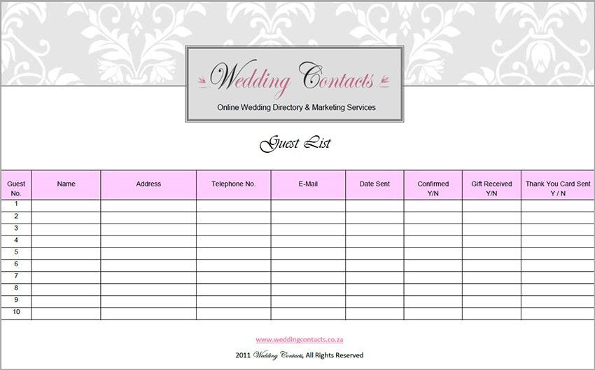 Top 5 Resources To Get Free Wedding Guest List Templates - Word ...