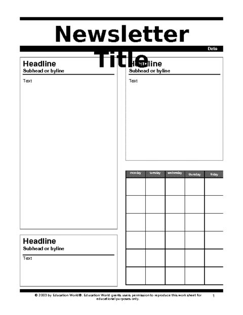 Newspaper Template For Kids | cyberuse