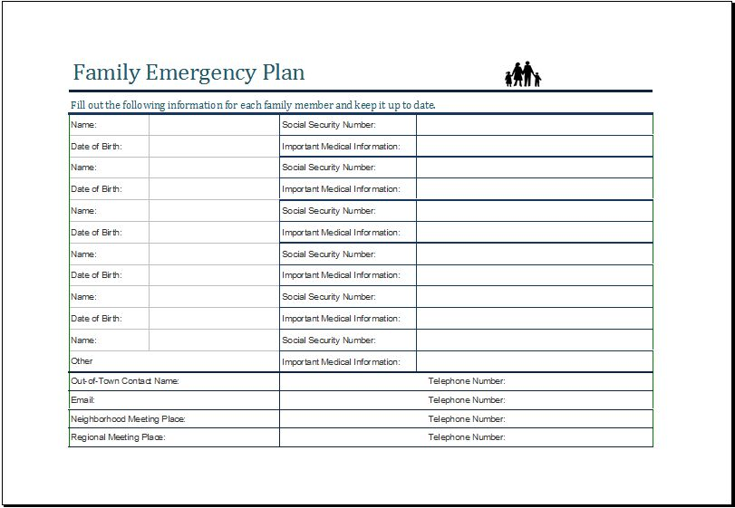 Family Emergency Plan Template MS Excel | Excel Templates