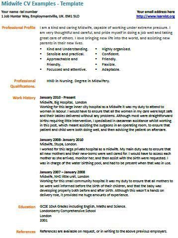 Midwife CV Example - Learnist.org