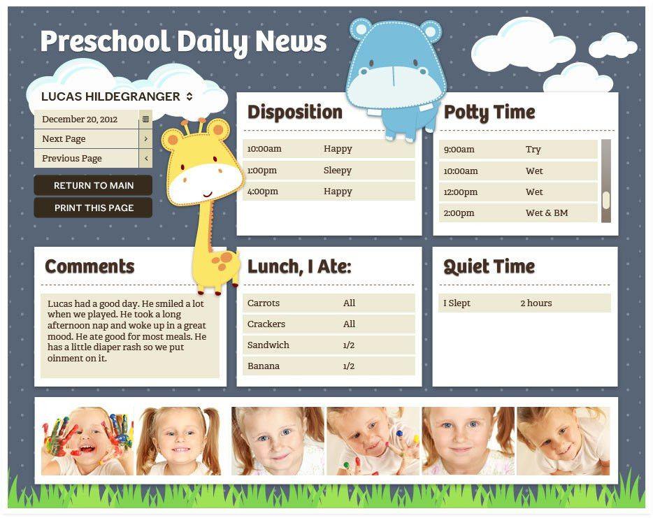 Preschool Daily Report Templates