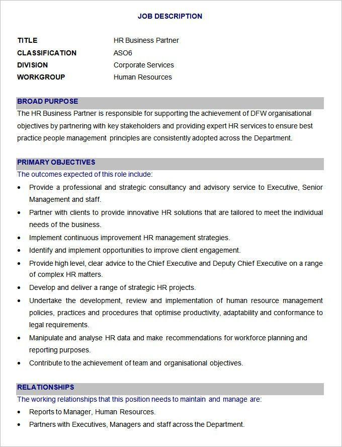 45+ HR Job Description Templates | HR Templates | Free U0026 Premium .