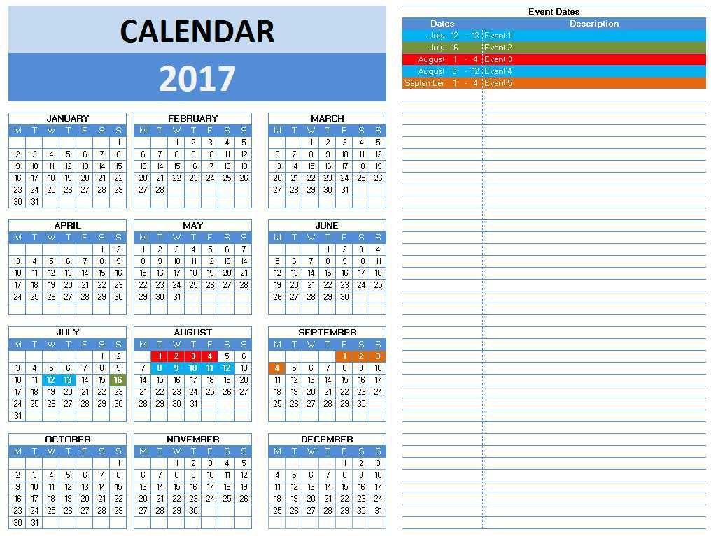 2017 Calendar Templates | Microsoft and Open Office Templates