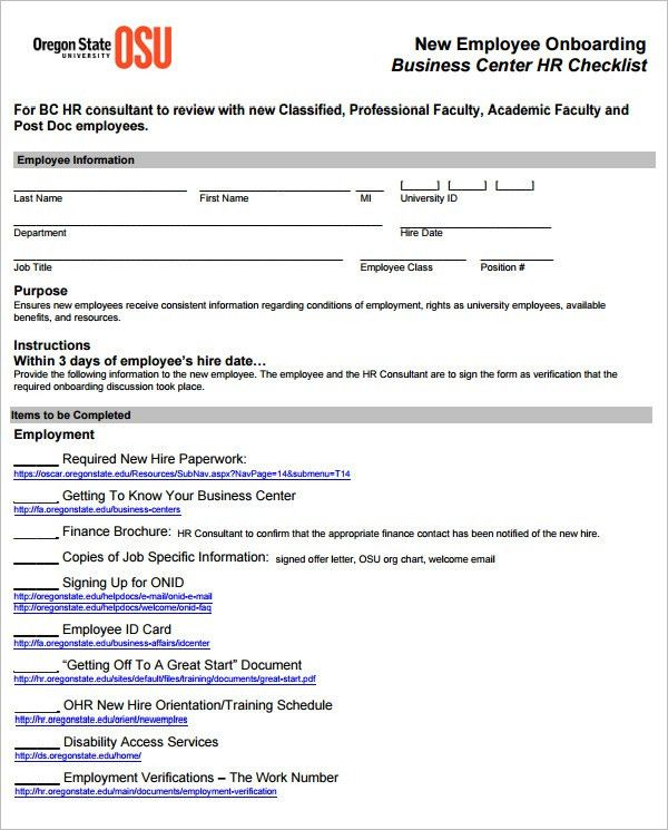 19+ HR Checklist Templates - Free Sample Example Format   Free ...