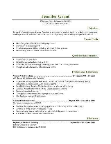 Medical Assistant Resume Template. 16 Free Medical Assistant ...