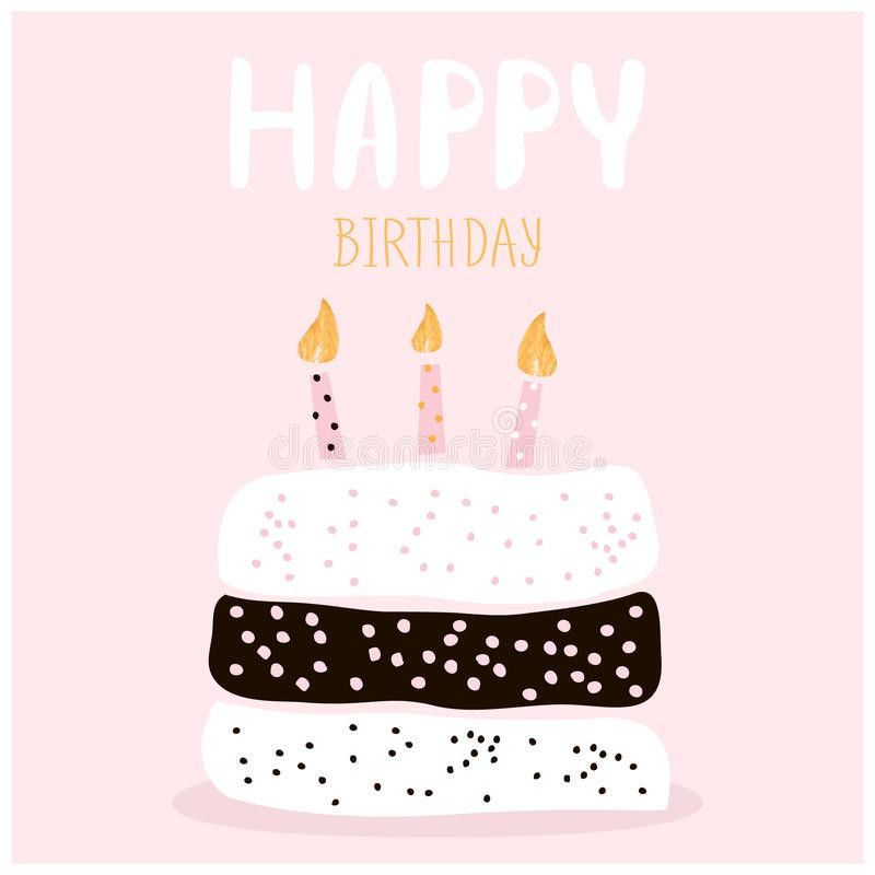 Cute Cake With Happy Birthday Wish. Greeting Card Template ...