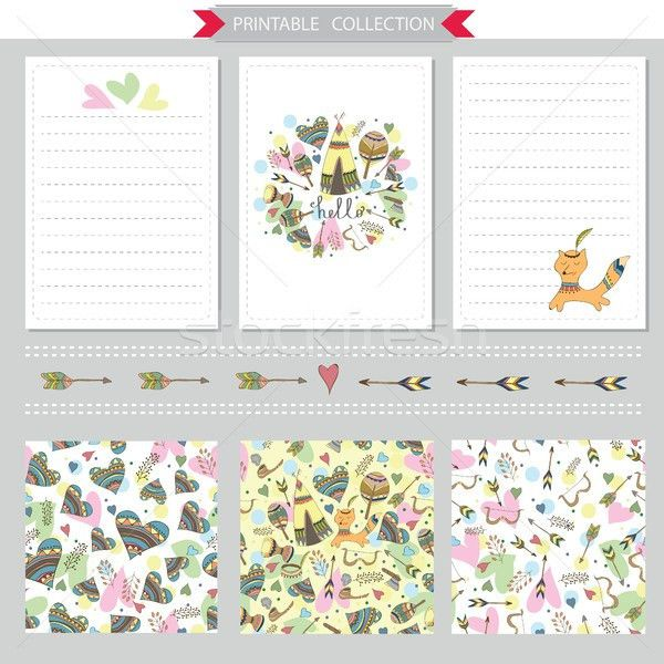 Vector printable notepad design of papers vector illustration ...