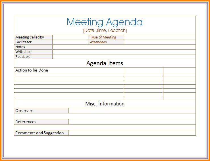 9+ meeting agenda template word | Letter Template Word