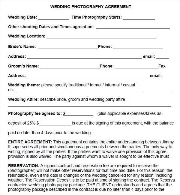 photography contract template | Wedding Photography Contract ...