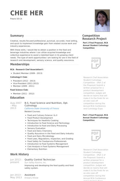 Quality Control Resume samples - VisualCV resume samples database