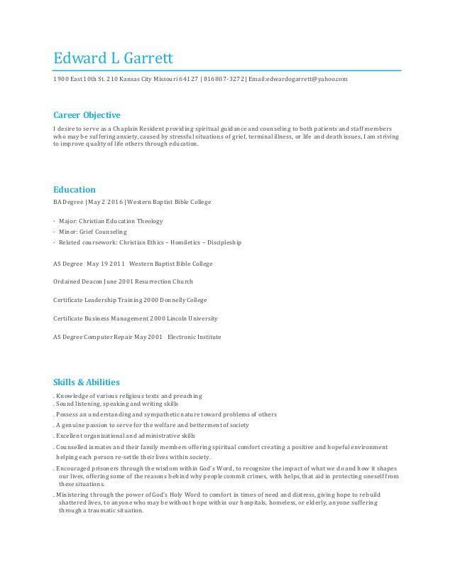 Hospital Chaplain Resume Sample - Contegri.com