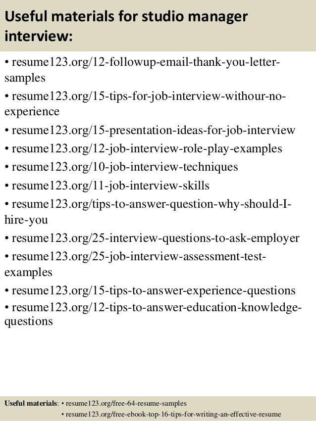 Top 8 studio manager resume samples