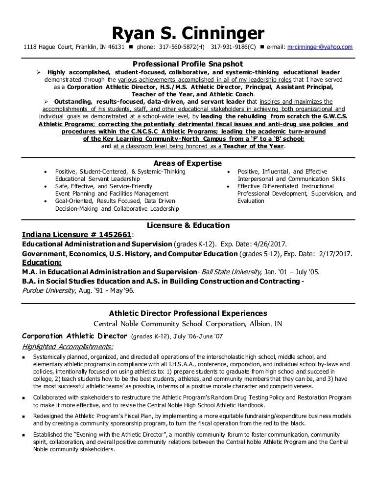 Cinninger AD Administrative Resume June 2015 with Reference Contact …