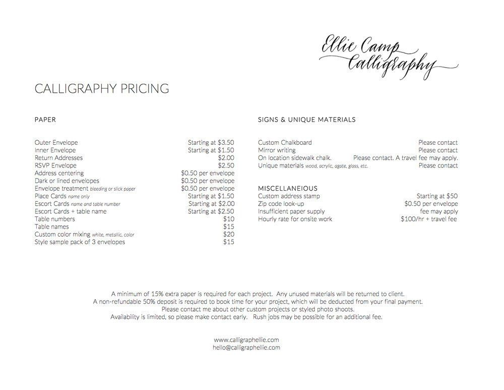 Pricing — Ellie Camp Calligraphy