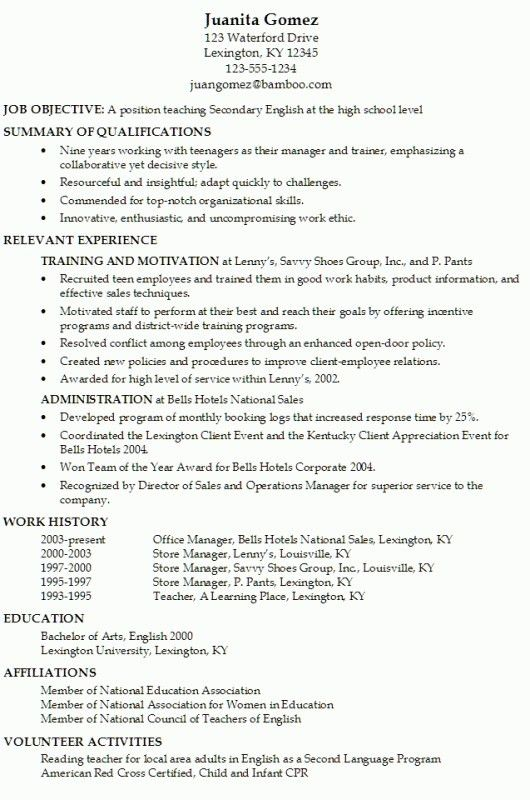 resume template for teenagers