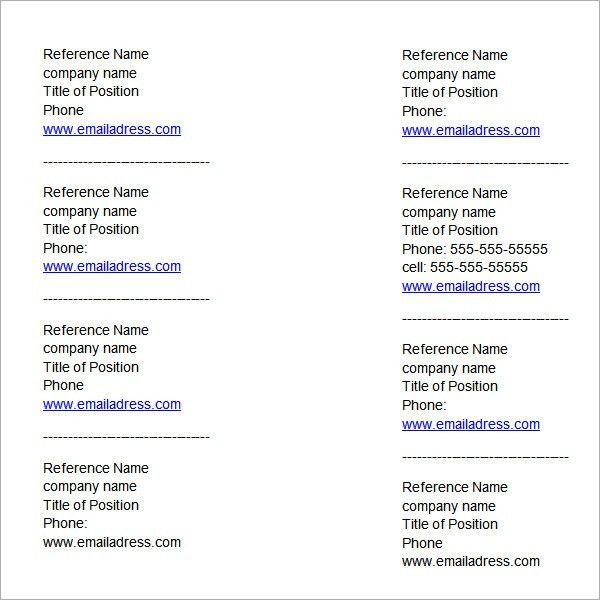 List Of References Template | cyberuse