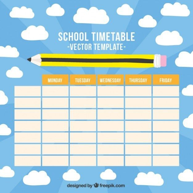 School timetable with a hand drawn pencil Vector | Free Download