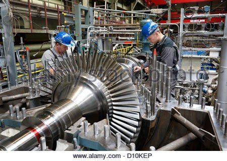 Oberhausen, Germany, industrial mechanic working on a steam ...