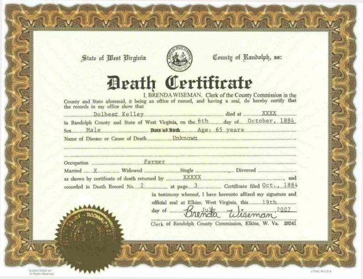 Más de 25 ideas increíbles sobre Death certificate en Pinterest ...
