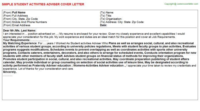 Student Activities Coordinator Cover Letters