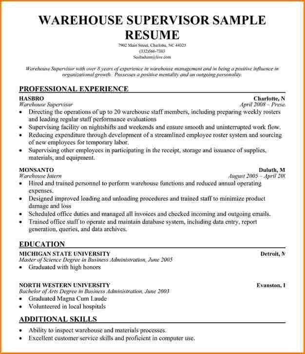 Warehouse Supervisor Resume | berathen.Com