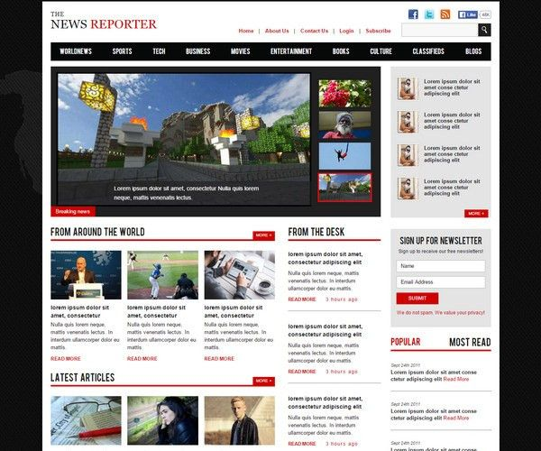 40+ Free Magazine HTML5 Website Templates