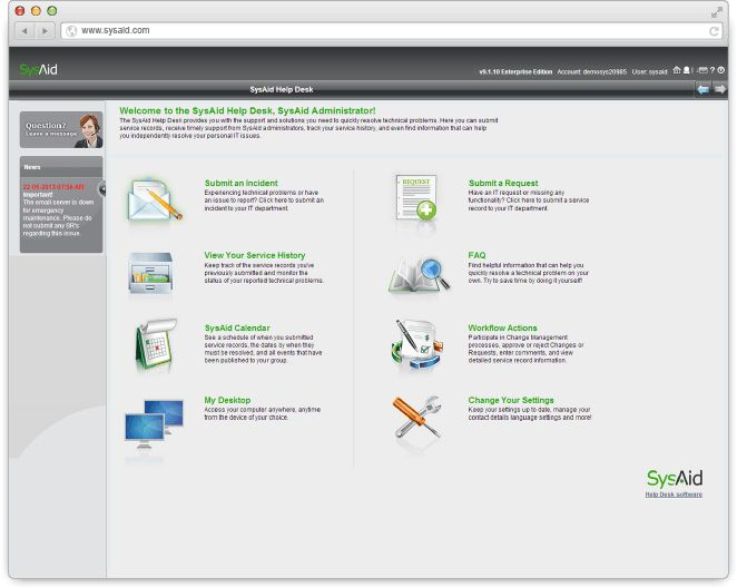 Advanced IT Ticketing System & Helpdesk Software   SysAid