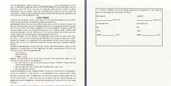 Personal Sample Loan Agreement Letter Sample Loan Agreement Letter ...