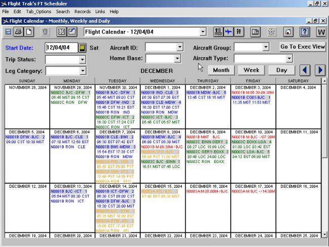 Flighttrak - Aviation scheduling software - Flight Calendar ...