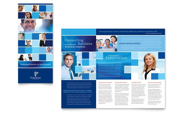 Technology Consulting & IT Tri Fold Brochure Template - Word ...