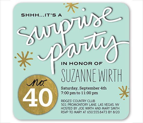 21+ Surprise Birthday Invitation Templates – Free Sample, Example ...