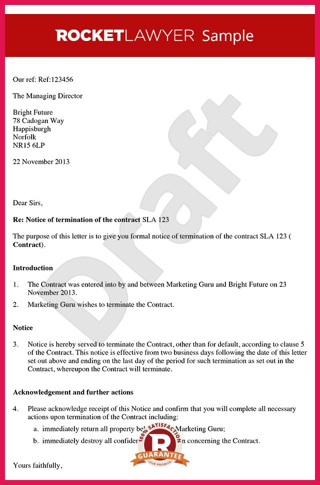 contract termination letter   sop examples