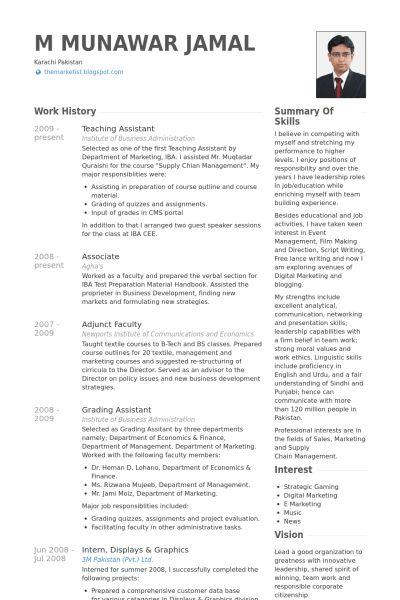 Teaching Assistant Resume samples - VisualCV resume samples database