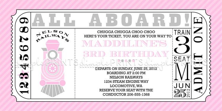 Girl Train Ticket Printable Invitation - Dimple Prints Shop