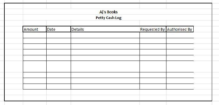 petty cash sheet