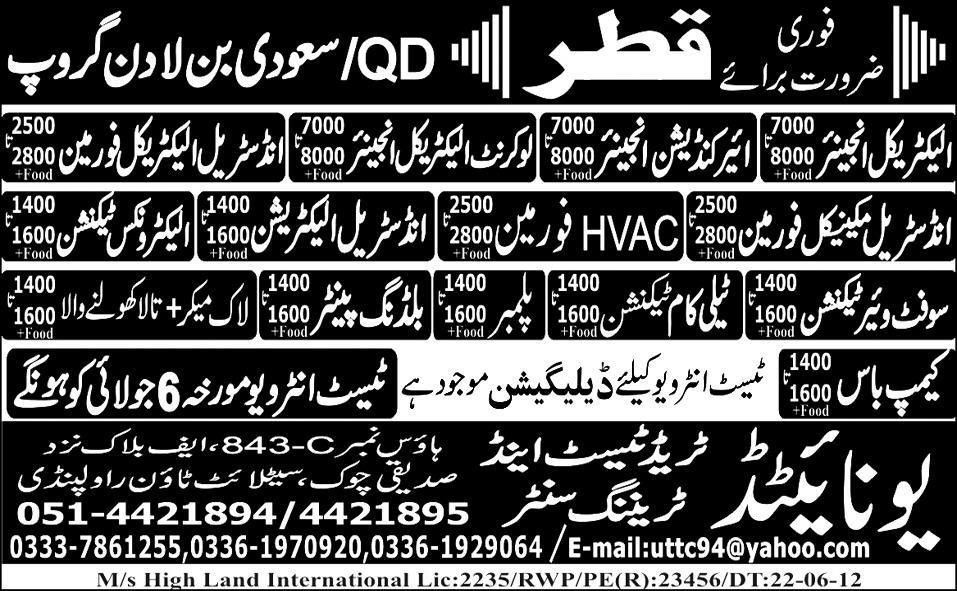 Lock Maker, Telecom Technician and Engineering Jobs at QD/Saudi ...