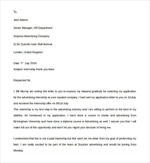 Thank You Letter For Internship - Huanyii.com