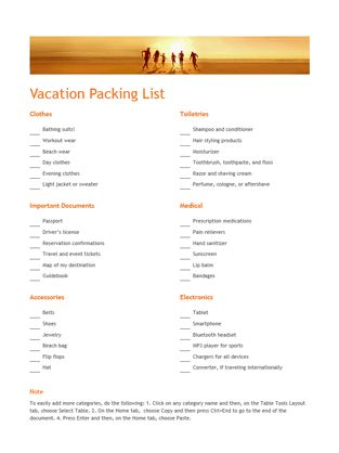 Vacation packing list - Office Templates