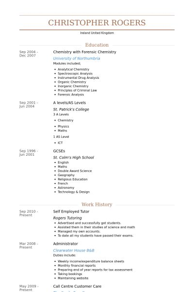 Self Employed Resume samples - VisualCV resume samples database