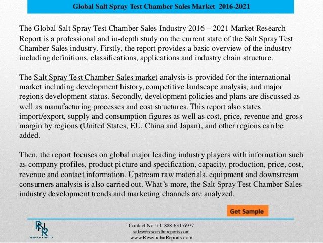 Global Salt Spray Test Chamber Sales Market Drivers and Challenges Re…