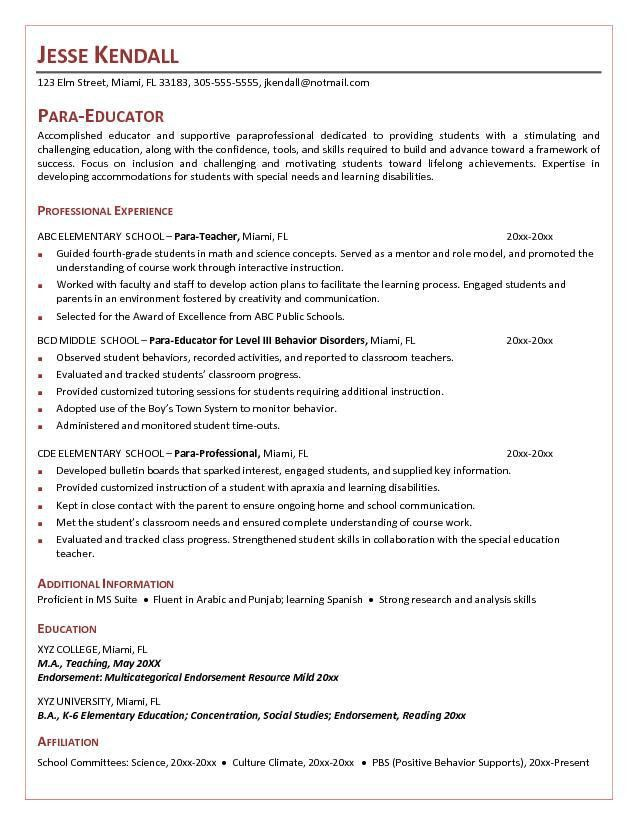 Sample Resume Paraprofessional Teacher | Create professional ...