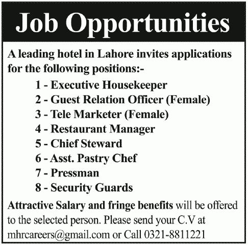 Pressman job, Hotel Lahore Job, Executive Housekeeper, Tele ...