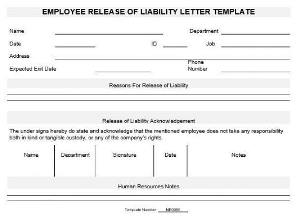 NE0086 Employee Release of Liability Letter Template – English ...