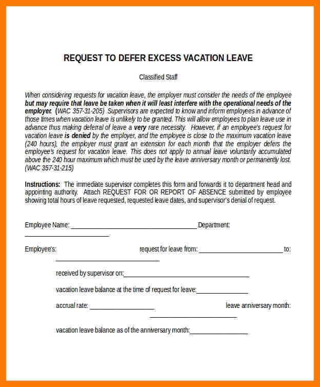 6+ leave letter for vacation | park-attendant