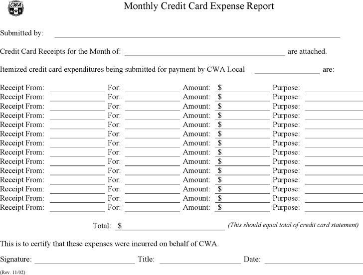Company credit card expense report template jgospel.us