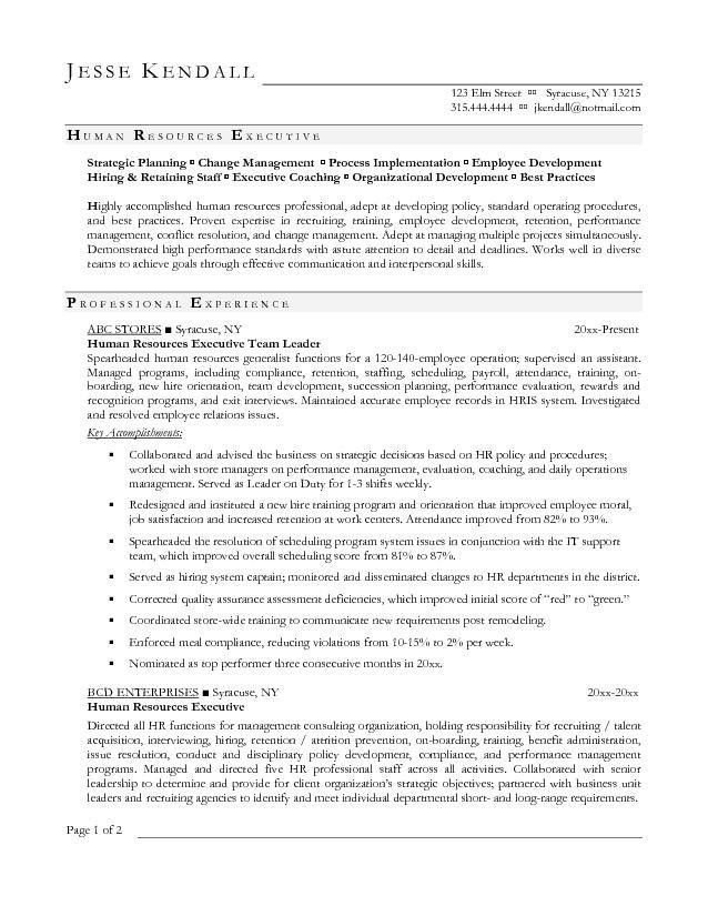 Free Human Resources Executive Resume Example