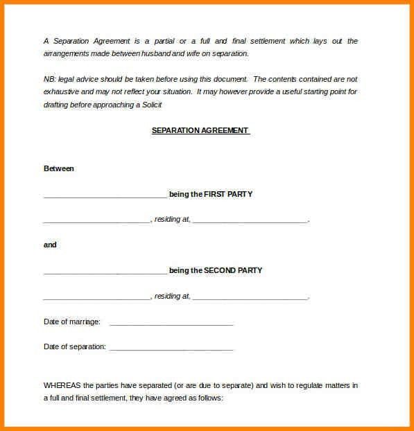 7+ free separation agreement form | agile resume