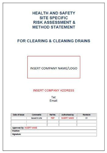 Risk & Method Statement Drainage Cleaning | Seguro